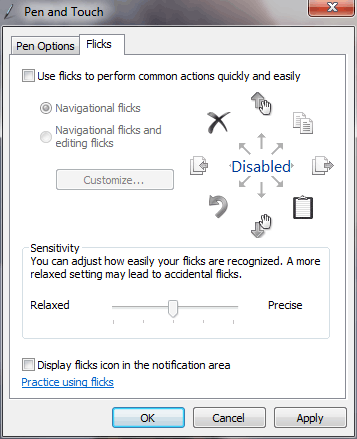 Disable flicks in windows