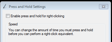 Windows Press and hold settings