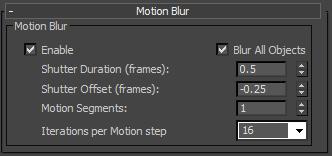 iRay motion blur dialog