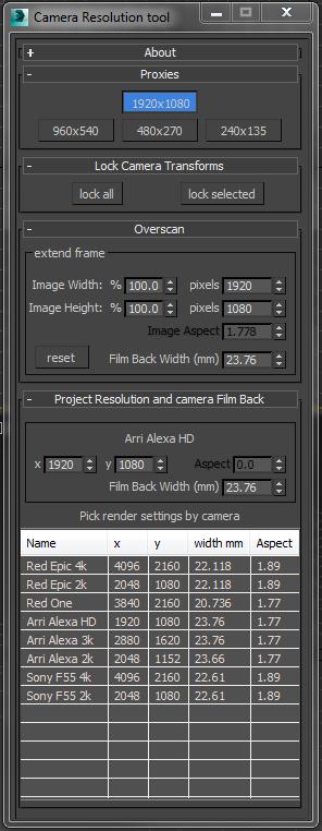 Tweak Camera Dialog